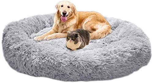 QXIAO Snug Dog Bed Soft Donut Pet Calming Bed Round Cuddler Cat Sofa Flully Plush Puppy Cushion Washable Breathable Sleeping Bag for All Season Dark Grey XXL:100cm-L: 60cm_Grey
