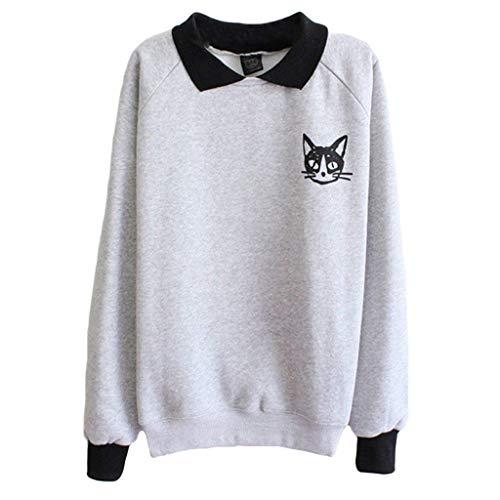 Shirt Damen Schwarze Mini Katze Drucken Langarm Sweatshirt Bubikragen Pullover Young Fashion Tops Für Frauen Männer Dchen One Size (Color : Grau (Dünn), Size : One Size)
