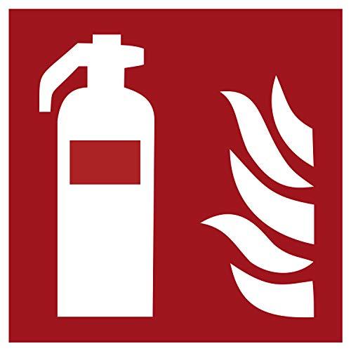F001 Brandschutzaufkleber Feuerlöscher   Nachleuchtend nach DIN 67510 in grün   Selbstklebend Folie für Betriebe, Produktion & Kliniken   150 x 150 mm   PlottFactory