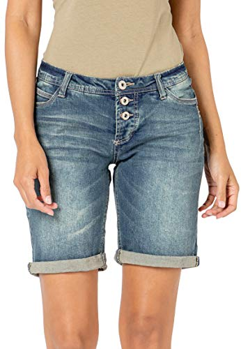 Sublevel Damen Jeans Bermuda-Shorts mit Denim Aufschlag Dark-Blue S