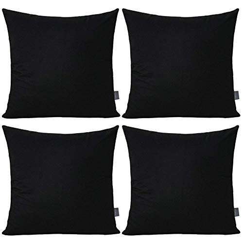 4-Pack 100% Cotton Comfortable Solid Decorative Throw Pillow Case Square Cushion Cover Pillowcase (Cover Only,No Insert)(18x18 inch/ 45x45cm,Black)