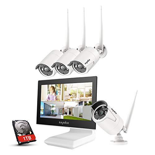 SANNCE Kit Videosorveglianza WiFi 1080P 4CH NVR con 10,1 ' monitor 1TB Disco Rigido Installato 4 Wireless Telecamere di Sorveglianza 1080P Eseterno Visione Notturna 100 piedi IP66 -1TB HDD