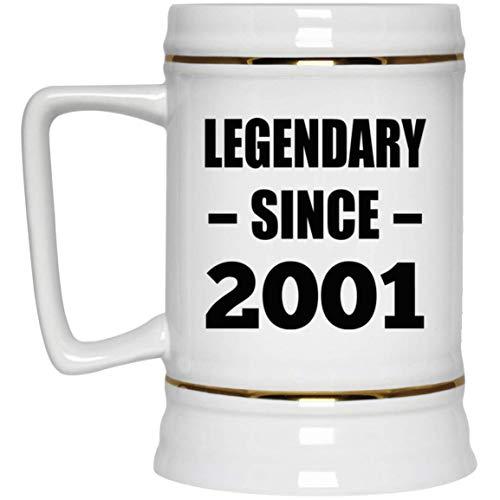 20th Birthday Legendary Since 2001 - Beer Stein Jarra de Cerveza, de Cerámica - Regalo para Cumpleaños, Aniversario, Día de Navidad o Día de Acción de Gracias