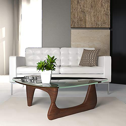 LeisureMod Imperial Glass Top Triangle Coffee Table (Dark Walnut Base)