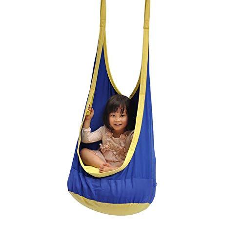Dubbele touw opknoping tas schommel, groot kind kind kind baby katoen met opblaasbare kussen afneembare ophanging stoel hangmat, draagvermogen 80kg, buiten, binnen, tuin, gang, 60 * 80 * 135cm