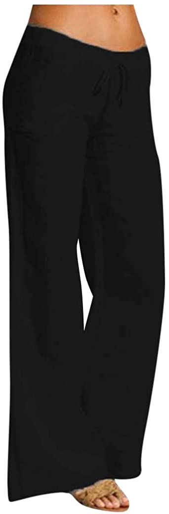 Beshion Women's Wide Leg Pants Summer Cotton Linen Yoga Pants Elastic Waist High Rise Drawstring Trousers with Pockets