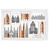 artboxONE Poster 120x80 cm Städte Lubeck Skyline Copper