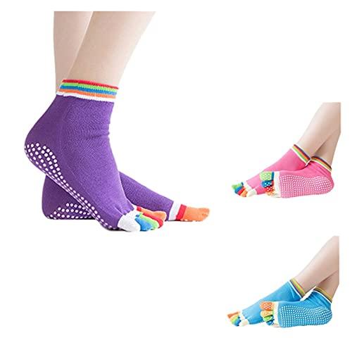 SZBLYY Calcetines AntideslizantesMujer 3 parejas Mujeres de yoga calcetines antideslizantes de cinco dedos calcetines de tobillo con manijas de silicona sin deslizamiento de 5 dedos calcetines de algo
