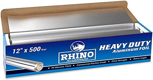 Rhino Aluminum Heavy Duty Aluminum Foil | Rhino 12 x 500 Foot Long Roll, 25 Microns Thick | Commercial Grade & Extra Thick, Strong Enough for Food Service Industry (Pack of 1)