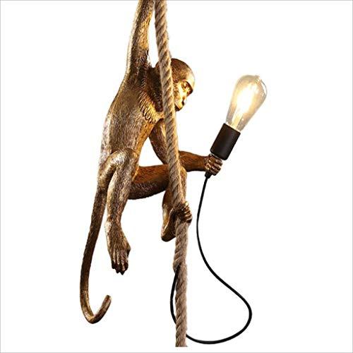 Weinlese-industrielle Art-Affe-Lampe, Kunst-Persönlichkeits-kreativer Harz, Hanf-Seil-Affe-Leuchter, E27 (Color : Gold)