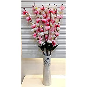 ARTSY Artificial Flowers for Decoration Cherry Blossom Flower Bunch (White – lightpink ) | VASE NOT Included |