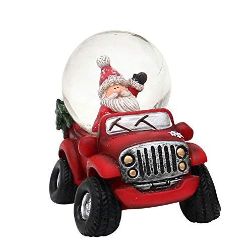 Dekohelden24 Schneekugel Cars in rot mit Weihnachtsmann, Maße H/B/Ø Kugel: ca. 9,8 x 7,8 cm/Ø 4,5 cm.