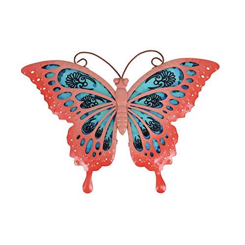 Liffy Arte de la Pared de la Mariposa del Metal Que cuelga el hogar Decorativo para la Sala de Estar y el Dormitorio, baño, Valla,Arte de jardín al Aire Libre -12 Pulgadas(Rosa)… 🔥