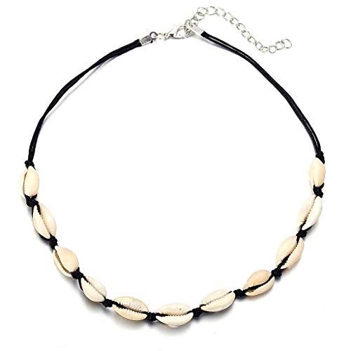 Hawaiian Puka Chip Shells Necklace White Tropical Shell Chain Choker Necklace for Women Girls Fashion Jewelry Gift (Black)