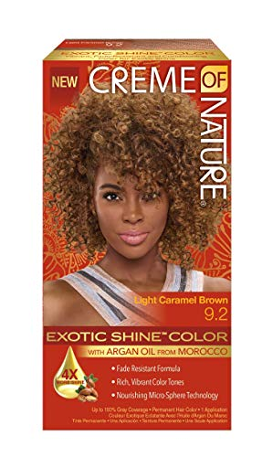 Creme of Nature Exotic Shine Color With Argan Oil, Light Caramel Brown, 9.2 Fluid Ounce