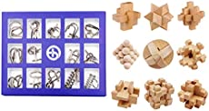 FenglinTech Brain Teasers, 24PCS IQ Wooden and Wire Metal Puzzle Set, Assembly Disentanglement Puzzles for Adult