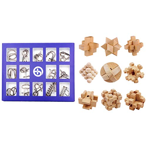 FenglinTech Brain Teasers, 24PCS IQ Wooden and Wire Metal Puzzle Set, Assembly Disentanglement...
