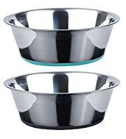 Holds up to 3800ml each, ideal bowls for kibble, wet food, and water Made of stainless steel: rust-resistant; offer a healthy alternative to plastic; doesn't hold odors 2-Pack design with different colour base silicone. Why not the same colour? We th...