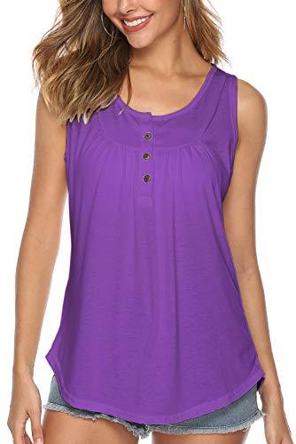 Bequemer Laden Damen T-Shirt Sommer Top Knopfleiste Bluse Einfarbig Kurzarm T-Shirt Casual Bluse Tunika Tops Lila, L