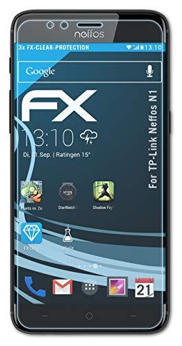 atFolix Schutzfolie kompatibel mit TP-Link Neffos N1 Folie, ultraklare FX Bildschirmschutzfolie (3X)