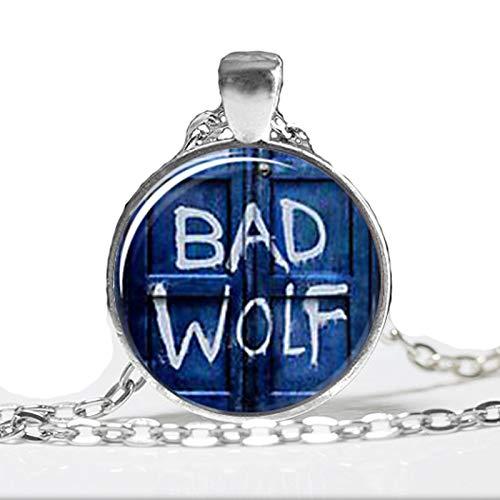 Colgante de cúpula de cristal, inspirado en Doctor Who Bad Wolf Tardis, hecho a mano, cabujón de cristal