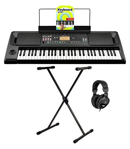 Korg EK-50 Keyboard Set (Entertainter Keyboard mit 61 Tasten, 702 Sounds, 41 Drumkits & 280 Styles inkl. X-Keyboardständer, Kopfhörer & Keyboardschule) Schwarz