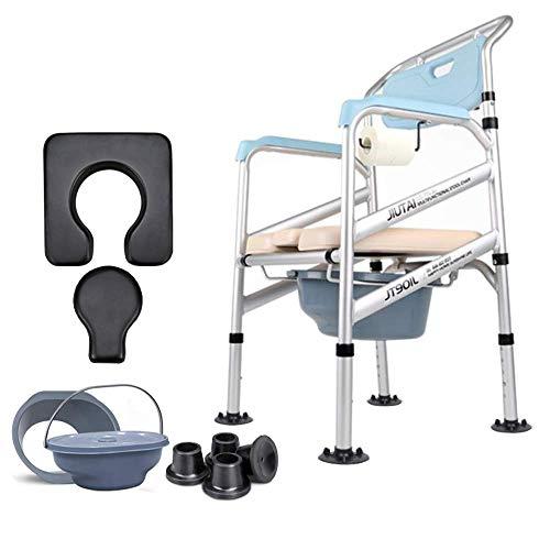 Z-SEAT Toilettenstuhl Verstellbarer zusammenklappbarer Kommodenstuhl, rutschfeste Toilette/Sitz im Schlafzimmer, Inkontinenzstuhl, Sofastuhl aus Aluminiumlegierung/Badesessel/E