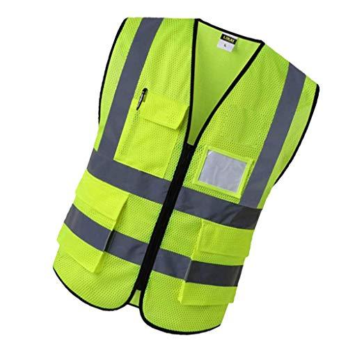 Sharplace Veste de Construction Réfléchissante Gilet de Sécurité avec Poches - Jaune s