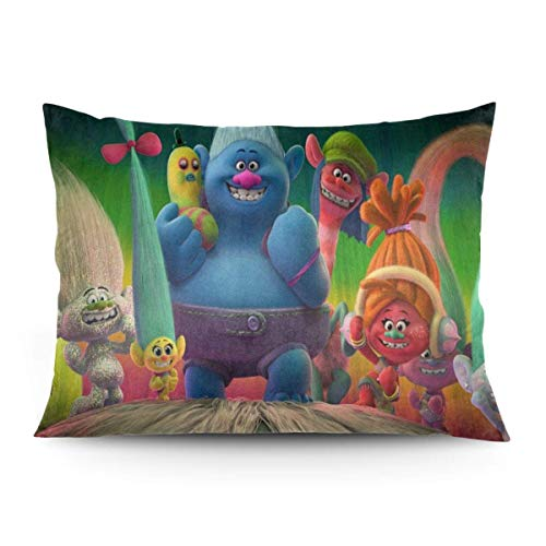 ZLCMMF Trolls Throw Pillow Covers Decorative Cotton Pillowcases for Living Room Sofa Couch Bed Soft Pillow Cases 20 x 26 Inch
