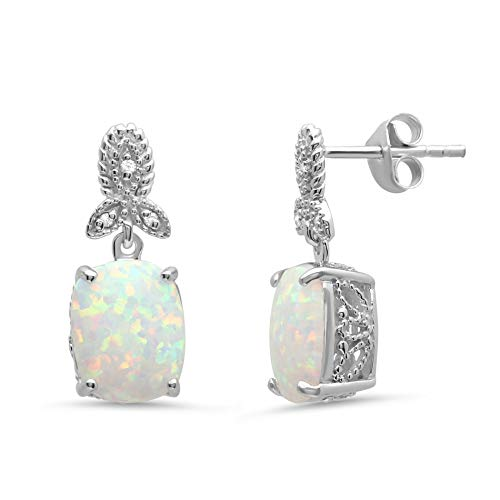 Sterling Silver 10x8mm Simulate Opal and Diamond Accent Dangle Drop Earrings