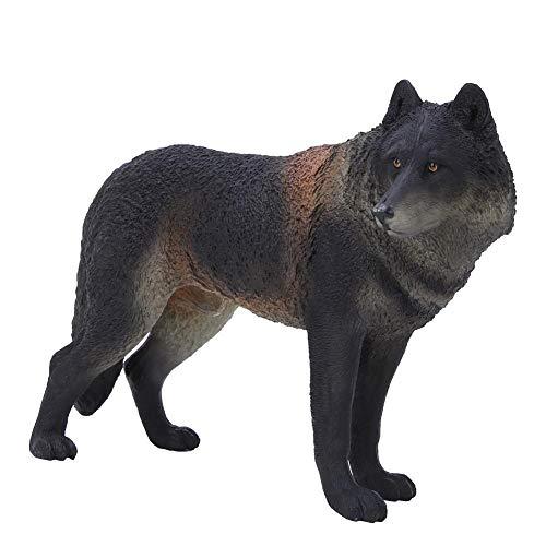 Zerodis Simulation schwarz Wolf Modell Figuren Kunststoff Wolf Tier Sammlung Dekoration frühes pädagogisches Spielzeug für Kinder Jungen und Mädchen