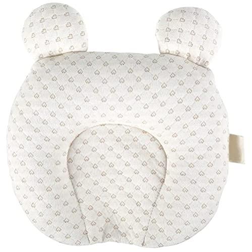 XOYZUU Almohada de forma de cabeza de bebé para dormir, con orejas de oso, almohada de aire 3D transpirable para prevención de síndrome de cabeza plana, soporte de cabeza y cuello para recién nacido