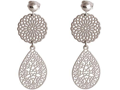 Gemshine Damen Ohrringe Yoga Mandala Tropfen in Silber, hochwertig vergoldet oder rose Tropfen Ohrhänger - Nachhaltiger, qualitätsvoller Schmuck Made in Spain, Metall Farbe:Silber