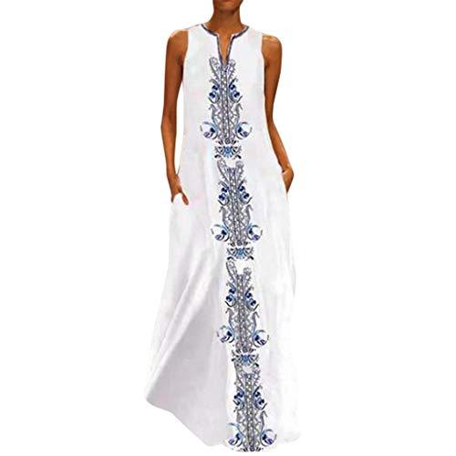 Vestido Estampado de Mariposa con Estampado de algodón, sin Mangas, Diario, Vintage de Mujer Vestidos De Fiesta para Bodas Talla Grandes Vestidos Playa Mujer Casuales Vestido Midi Verano