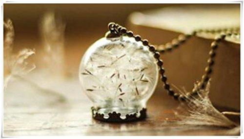 Colgante-esfera de cristal con un diente de león, collar de la naturaleza, collar de diente de león