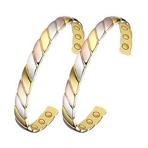 2 pulseras de cobre para la artritis de mujeres y hombres. Pulsera de terapia magnética para aliviar el dolor y el túnel carpiano ~ 100% puro.