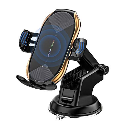 Wireless Car Charger Mount, Fast Charging Auto-Clamping Car Phone Holder Mount, Car Air Vent Holder, Compatible with iPhone12/11/11Pro/11ProMax/XSMax/XS/X/8/8+ Samsung S10/S10+/S9/S9+/S8/S8+/Note