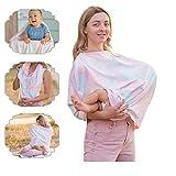 NatureBond Copertina per allattamento al seno | Copertina in cotone super traspirante e sicura | Copri seggiolino auto per bambini multiuso | Sciarpa Passeggino Coperta Leggera (Sunrise Pink)
