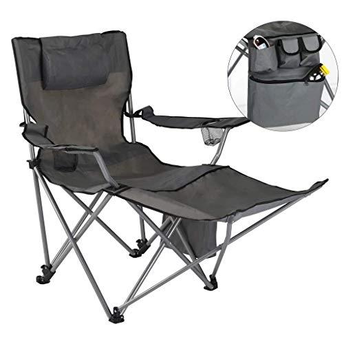 HI Faltbarer Regiestuhl mit Fußablage und Getränkehalter auf beiden Seiten Faltstuhl Klappstuhl Campingstuhl Anglerstuhl grau