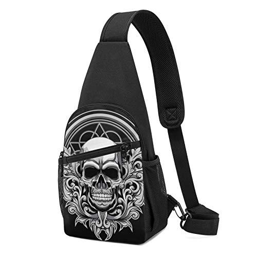 Floral Skull Printed Sling Bag Shoulder Chest Backpack Pack Crossbody Polyester Multi-Purpose Casual Daypack