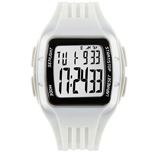 LYDBM Deportes Manera de los Relojes cronómetro de Cuenta atrás Outdoor Running cronógrafo luz de la Noche aterproof Reloj Militar Reloj Unisex Digital (Color : Blanco)