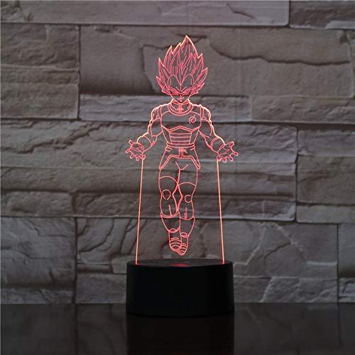 tzxdbh 3D tafellamp, 7 kleuren auto wijzigen touch schakelaar, schrijftafel Dragon Ball afstandsbediening Tereo acryl paneel wijzigen bed Kerstmis Halloween verjaardagscadeau voor kinderen jongens