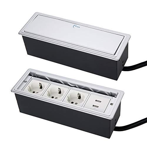 Versteckte Tisch-Einbausteckdose,Einbausteckdose mit deckel,Tischsteckdose Einbausteckdose 3 fach,mit 2 USB Charger,Press Open Deckel Tischsteckdose