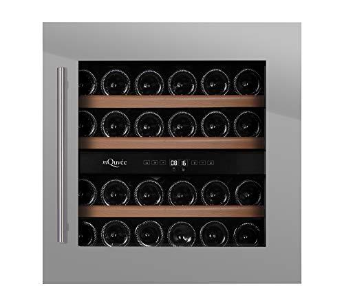 mQuvee Weinkühlschrank Einbau WineMaster 36D Stainless, Platz für bis zu 34 Flaschen, 2 Temperaturzonen 5-20 °C, Tiefe 56 cm