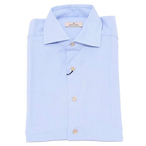 SONRISA 1530X Camicia Uomo Washed Collection Light Blue Shirt Cotton Man [38 (15)]