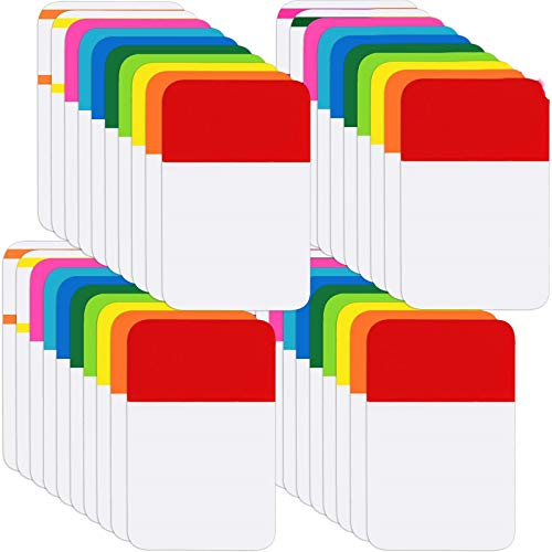 800 Pieces File Tabs Sticky Index Tabs, Writable and Repositionable Filing Tabs Flags for Pages or Book Markers, Reading Notes, Classify Files, 40 Sets (12 Colors, 1 Inch)