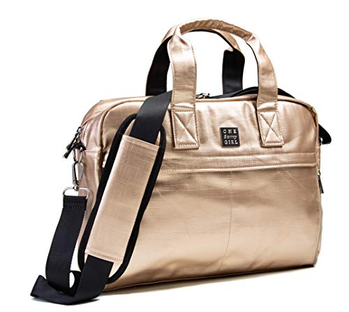 One Savvy Girl Laptop Backpack for Women - Stylish and Fashionable Rose Gold Computer and Messenger Bag Perfect for Work, Travel & Adventure