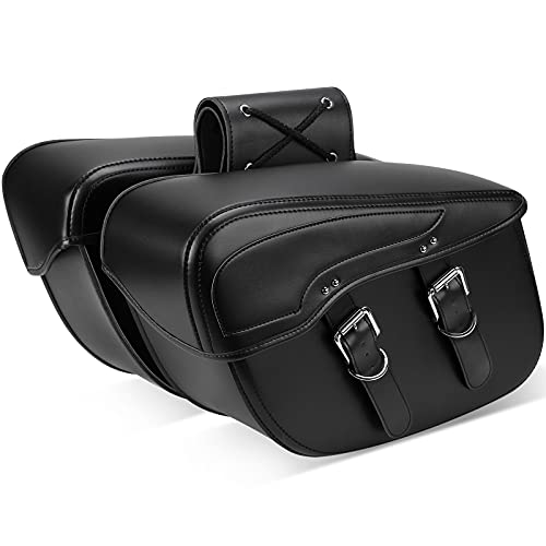 Synthetic Leather Motorcycle Saddlebag for Sportster Street Glide Electra Glide Touring Model, Universal, Black