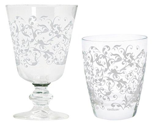 Excelsa Domus Set Calici e Bicchieri, Bianco, 12 Unità