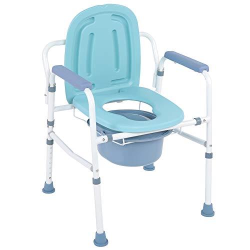 Wakects WC-Sitz-Halterung, mobiler Toilettensitz, robust, höhenverstellbar, mit Stützarm und rutschfesten Füßen